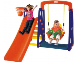 Outdoor Slide And Swing With Basketball Net