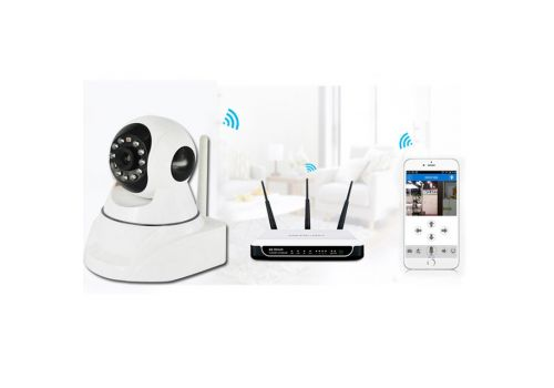 HD Network IP Camera Dual Audio HD 720P 3X Digital Zoom Wireless Wifi P2P 128G TF Card - White