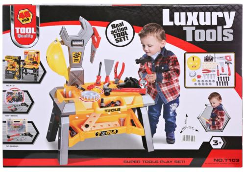 Super Tools Play 46 Pieces Set - Hammering and Nailing Toys