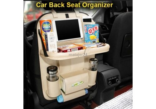 Car Back Seat Organizer Pu Leather Foldable Car Dining Table